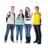Four Students smiling and with thumbs up Stock Photography