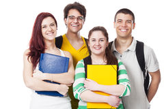 Four Students Smiling on White Royalty Free Stock Images