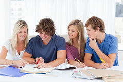 Four students trying to get the answer Royalty Free Stock Photos