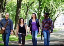 Four students walking. Four University students walking and chatting royalty free stock photos