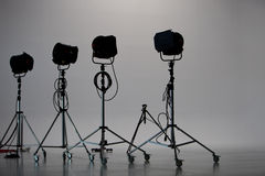 Four Studio Lights in Studio Royalty Free Stock Images