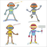 Four style robots Stock Images