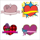 Four styles of label templates with hearts. Royalty Free Stock Photo