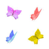 Four stylized colorful flying butterflies isolated on a white ba Royalty Free Stock Photo