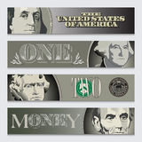 Four stylized money banners Stock Image