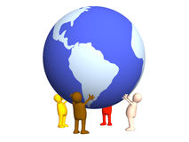 Four stylized persons holding on hands the Earth Royalty Free Stock Photos