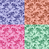 Four stylized swirl floral patterns Stock Image