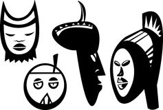 Four Sudanese Masks. Four African masks and statues inspired from Bwa, Bolo and Bateba cultures of Sudan Stock Photo