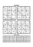 Four sudoku games with answers. Set 14. Royalty Free Stock Photos
