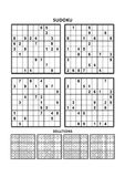 Four sudoku games with answers. Set 13. Stock Photos