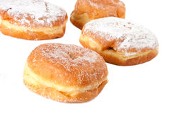 Four Sugar topped Paczki. Or polish doughnuts Royalty Free Stock Images