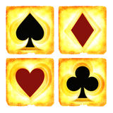 Four suit playing card house sign Royalty Free Stock Photos