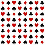 Four Suits Of Cards Pattern On A White Background Stock Photography