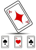 The four suits of playing cards. Hearts, spades, clubs, diamonds Royalty Free Stock Images