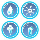 Four summer symbols Royalty Free Stock Photo