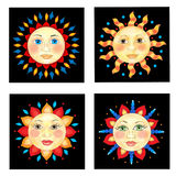 Four Sun Faces Stock Image