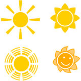 Four suns. Four different shapes yellow suns Stock Image