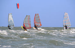 Four Surfers. Four windsurfers heading out to sea royalty free stock photography