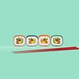 Four of sushi. And chopsticks Stock Photos