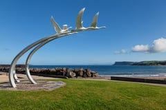 Four swans Children of Lir sculpture in Ballycastle, Northern Ir. Ballycastle, Northern Ireland - September 20, 2014 : Four Swans sculpture from the Children of stock image