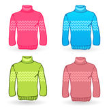 Four Sweater icons on white background. Knitting Stock Photo