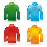Four Sweater icons on white background. Knitting Royalty Free Stock Photo