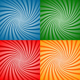 Four swirl patterns. A matrix of four identical swirl patterns in different colored squares Royalty Free Stock Photos