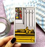 4 Four of Swords Tarot Card Mental Exhaustion Stress Overwhelmed Retreat Time-Out Healing Peace & Quiet. 4 Four of Swords Tarot Card is about Mental Exhaustion stock illustration