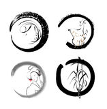 Four symbolic sign of Buddhism Royalty Free Stock Images