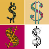 Four symbols of money Royalty Free Stock Images