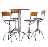 Four Tall Bar Stools at a Table. Isolated with clipping path Stock Image