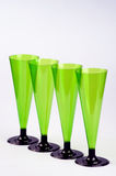 Four tall wine glasses. Four non-permanent tall wine glasses from a plastic Stock Image