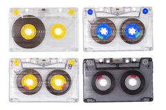Four tape cassettes Royalty Free Stock Images