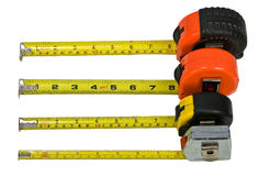 Four tape measures isolated Royalty Free Stock Photography