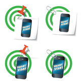 Four targets. And smart phone with the words smart start Royalty Free Stock Image