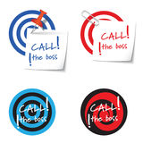 Four targets. And and the words call the boss Stock Photos