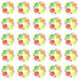 Four tasty bright orange segments pattern watercolor Stock Image