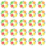 Four tasty bright orange segments pattern watercolor hand sketch Stock Photography