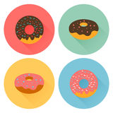 Four tasty flavored donuts with glazing. Flat style illustration Stock Image