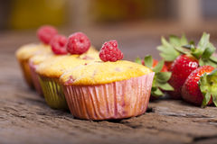 Four tasty fruit muffins Stock Images