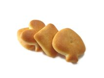 Four tea-biscuit. Isolated over white, deliciously and nourishing Royalty Free Stock Image