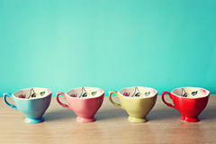 Four Tea Cups. Four different colored tea cups Stock Photography