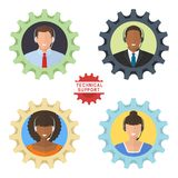 Four technical support flat illustrations vector illustration