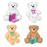Four teddy bear with gifts. Isolated. Royalty Free Stock Images