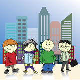 Four teenage boy on a background of the city, vector illustratio Stock Images
