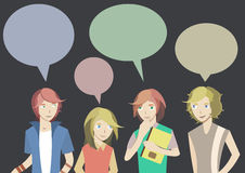 Four teenager are chatting royalty free illustration