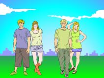 Four teenagers happy Stock Photography