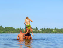 Four teens - triple piggyback Stock Photography