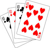 Four Tens Poker Royalty Free Stock Photos
