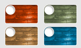 Four text boxes with wood pattern Royalty Free Stock Photo